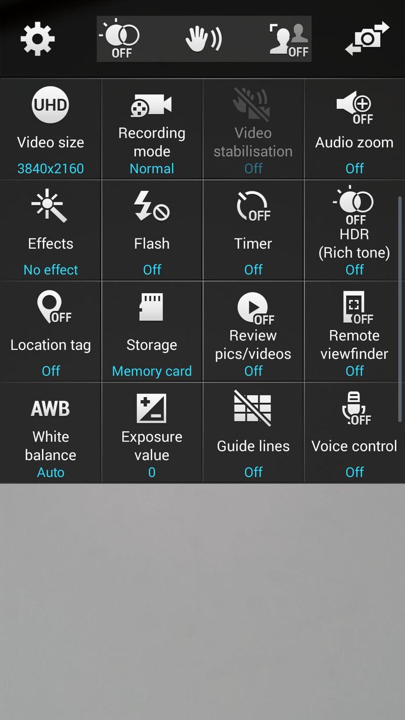 Samsung Galaxy S5 camera settings