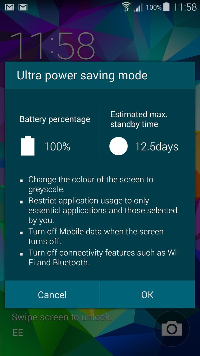 Samsung Galaxy S5 Ultra Power Saving Mode