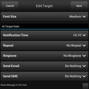 Create a Target Date (bottom half)
