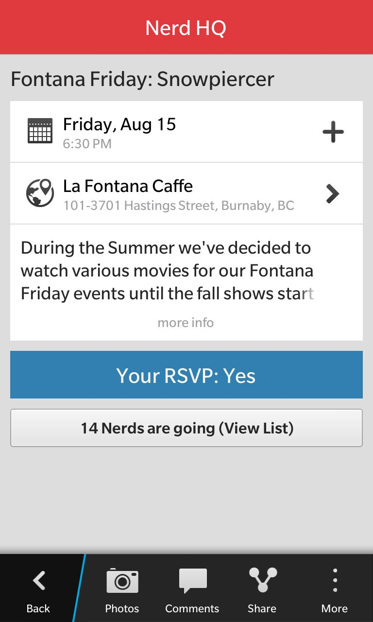 We take a closer look at Meetup for BlackBerry 10