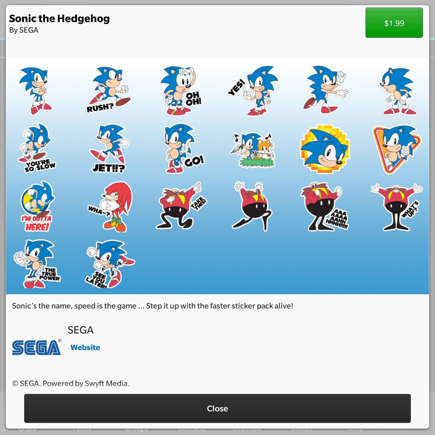 Sonic the Hedgehog spins onto the BBM shop in sticker form