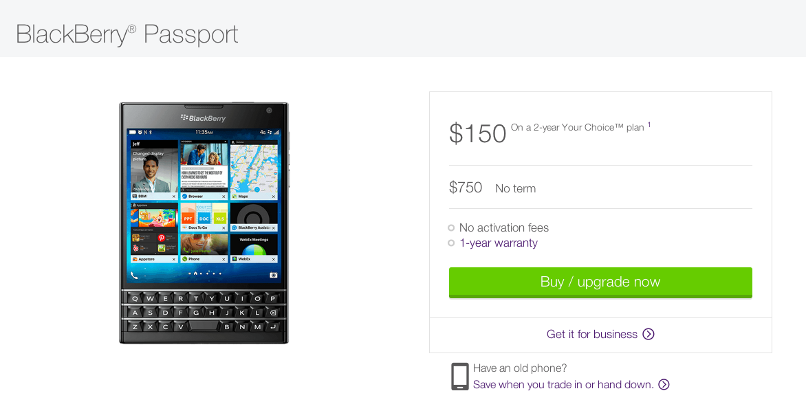 TELUS offering the BlackBerry Passport for 50 on contract but only in certain regions