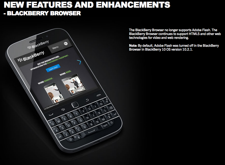 BlackBerry's official comments on the removal of Adobe Flash from OS 10.3.1