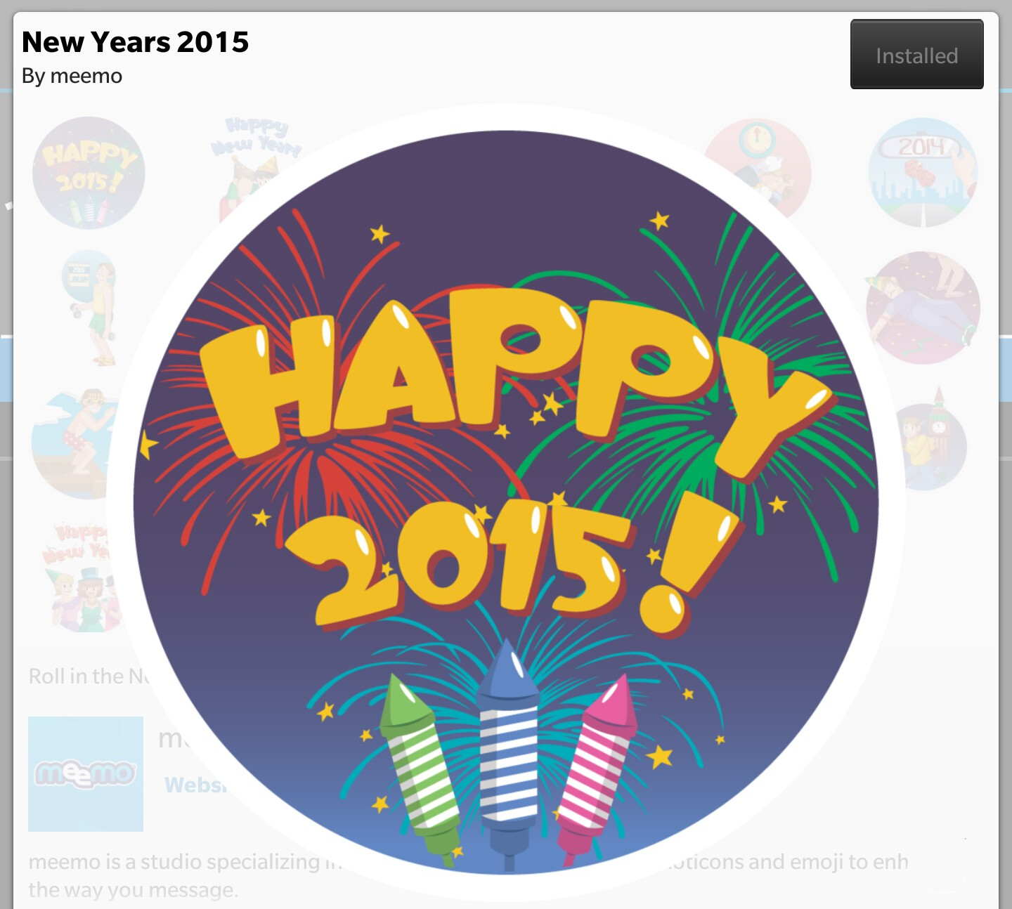 Get ready for 2015 with the New Years BBM sticker pack