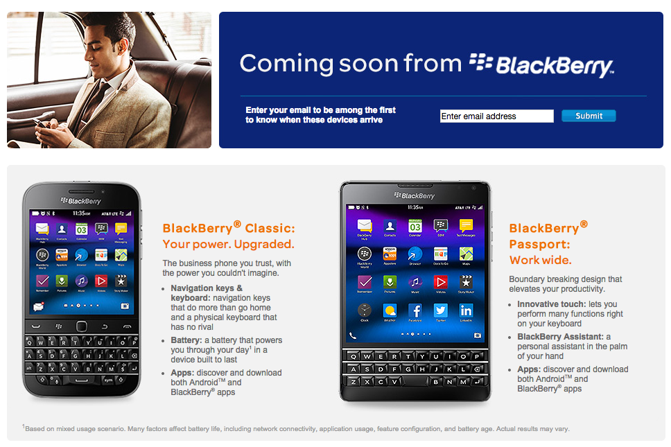 BlackBerry Classic and exclusive Passport confirmed for AT&T