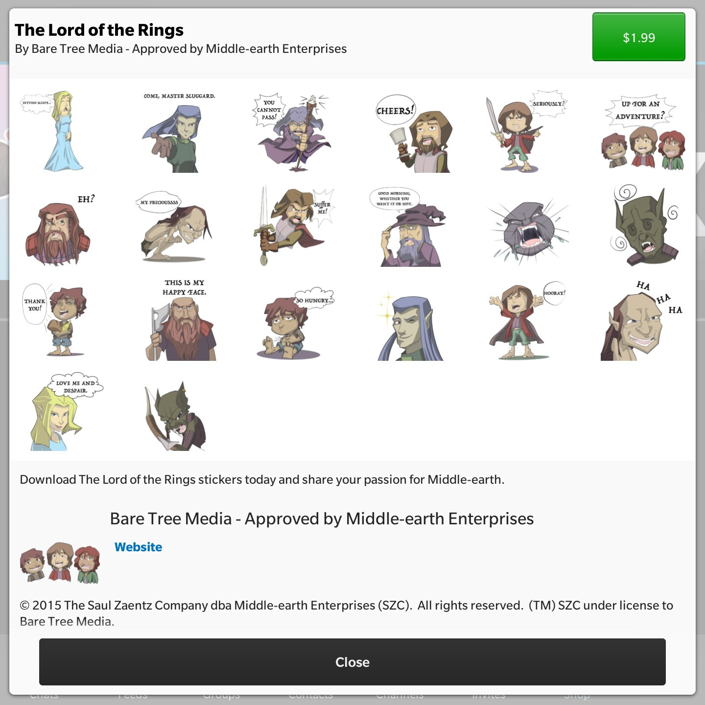 The Lord of the Rings BBM stickers now available