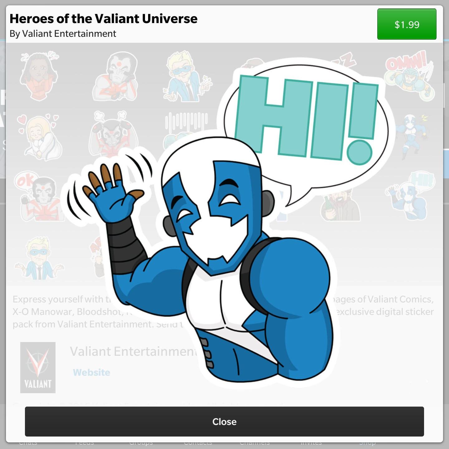 Heroes Of The Valiant Universe BBM sticker pack now available