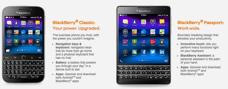 BlackBerry Passport and Classic now available for purchase from AT&T