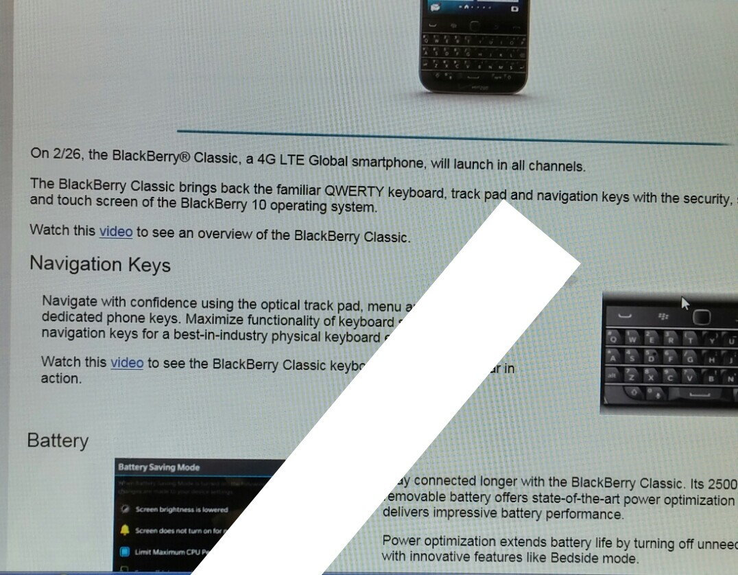 BlackBerry Classic appears set to arrive on Verizon February 26th