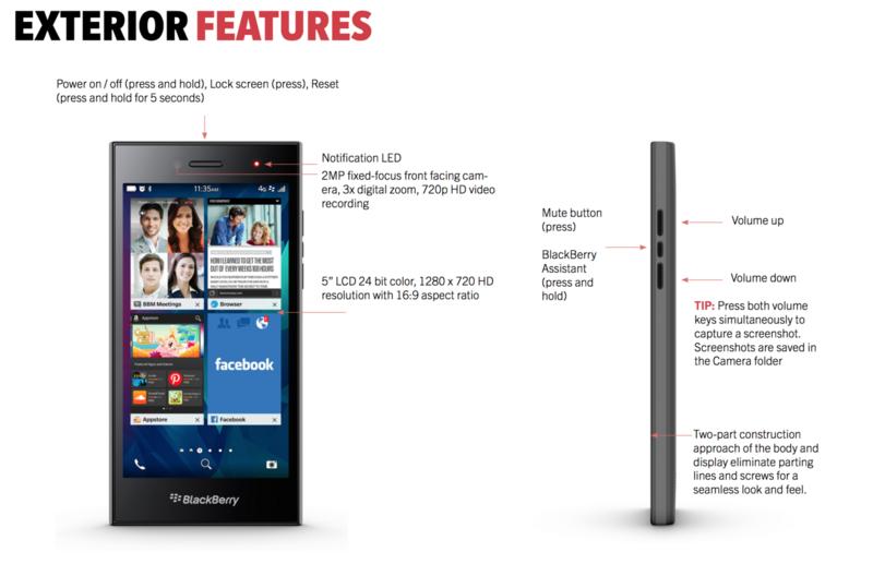 BlackBerry Leap Exterior Features