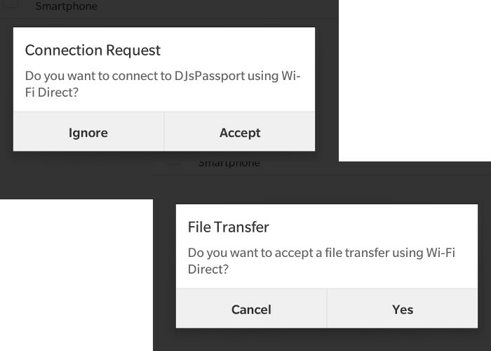 Wi-Fi Direct Request Connection and File Transfer toasts