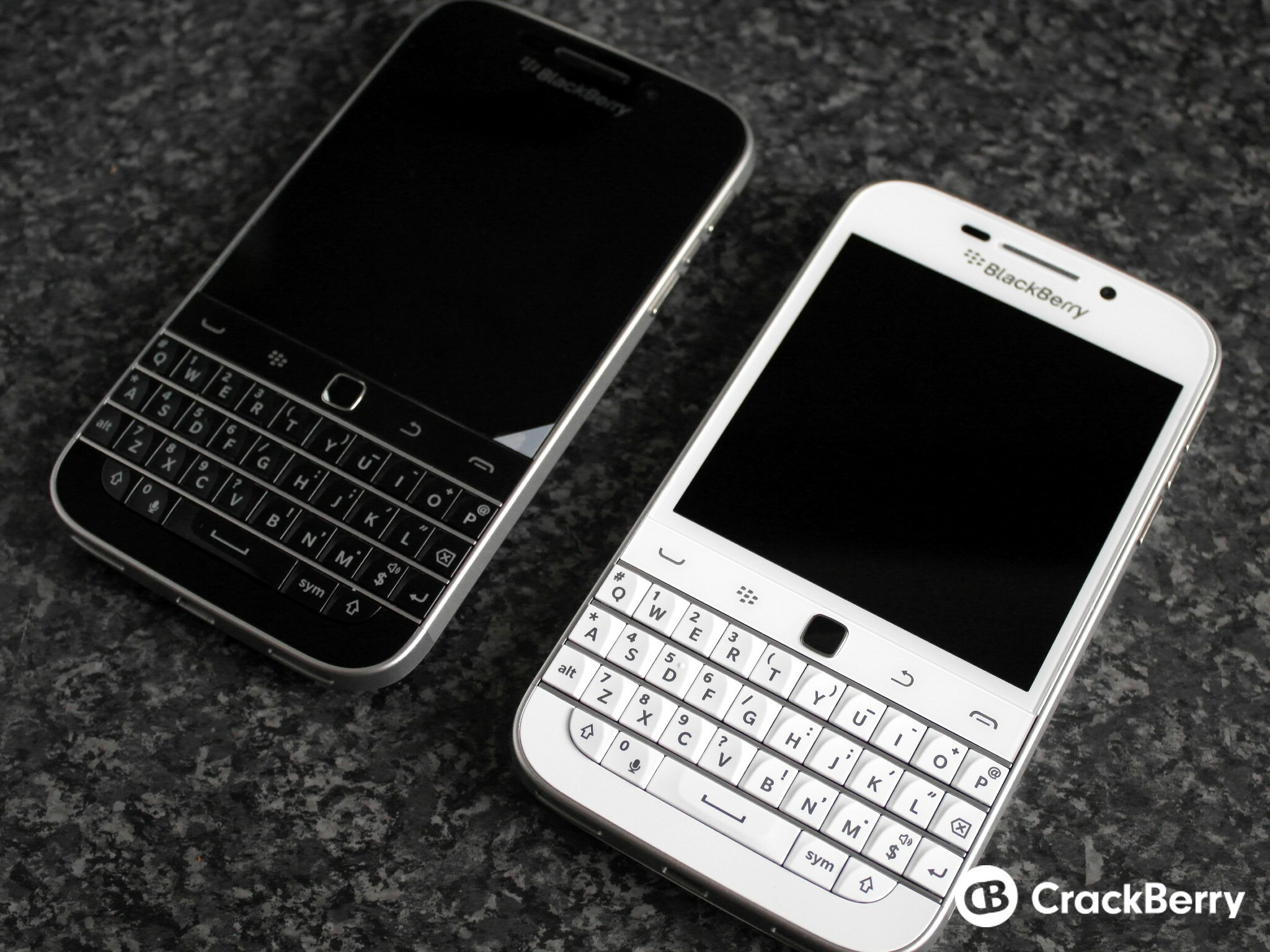 BlackBerry Classic White and Black side by side front view