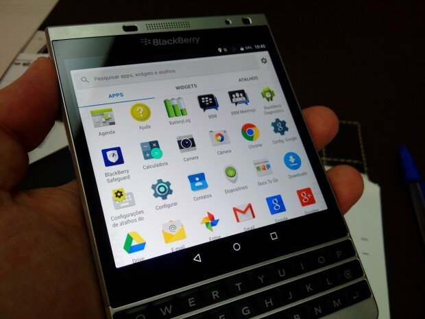 This BlackBerry Passport Silver Edition appears to be running Android instead of BlackBerry 10