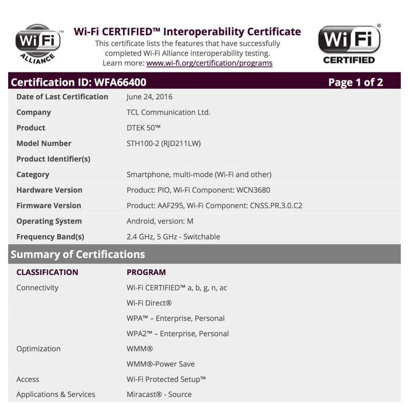 TCL-built BlackBerry Hamburg turns up seeking Wi-Fi certification