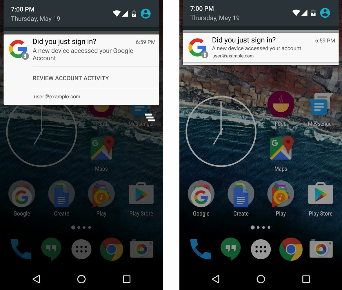 Android device notifications