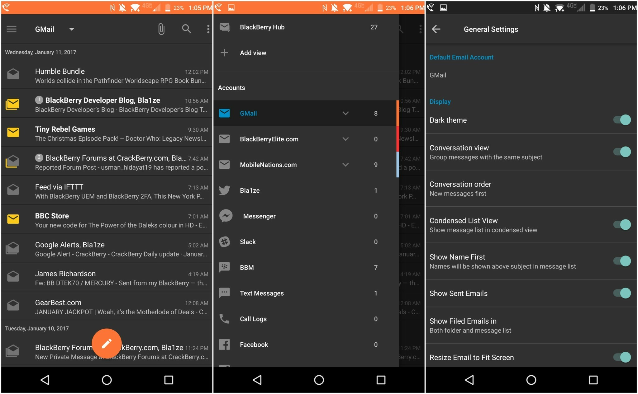 How to enable 'Dark Theme' for the BlackBerry Hub on Android
