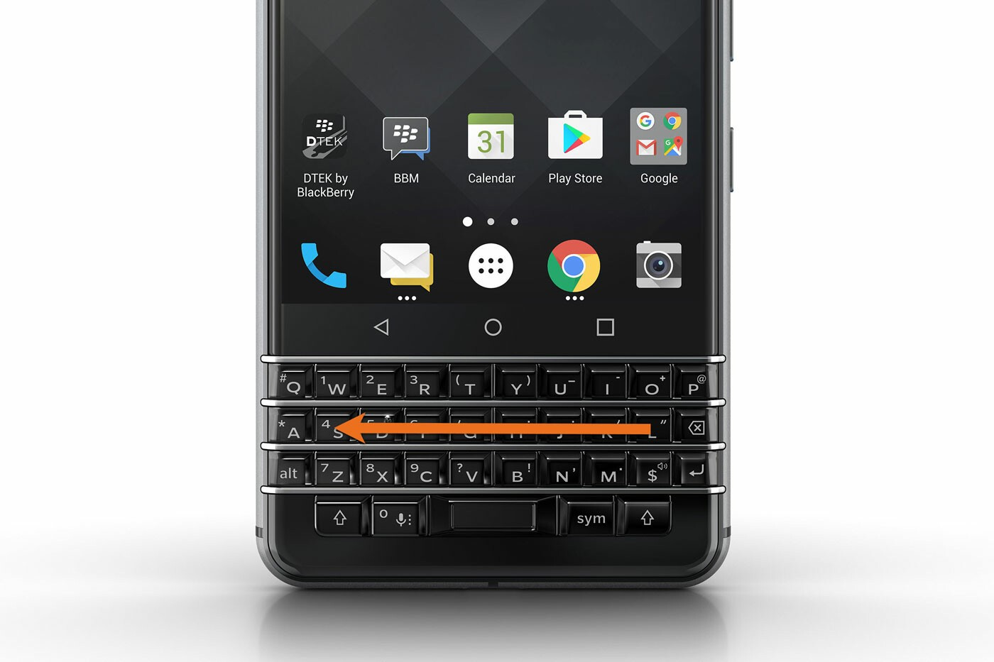 Backslash swipe on the BlackBerry KEYone keyboard