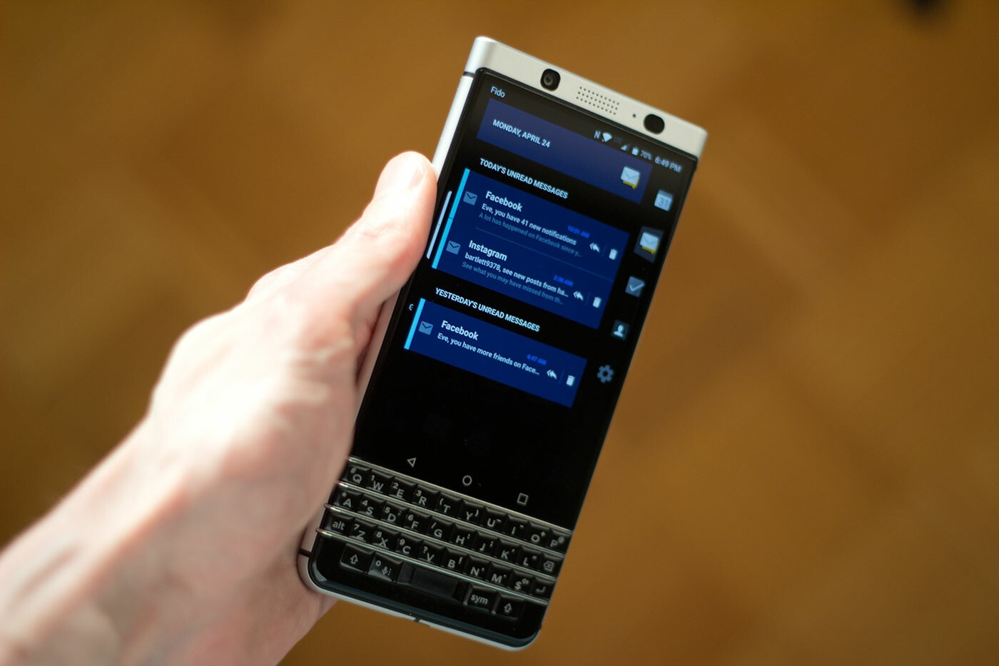 BlackBerry KEYone Productivity tab
