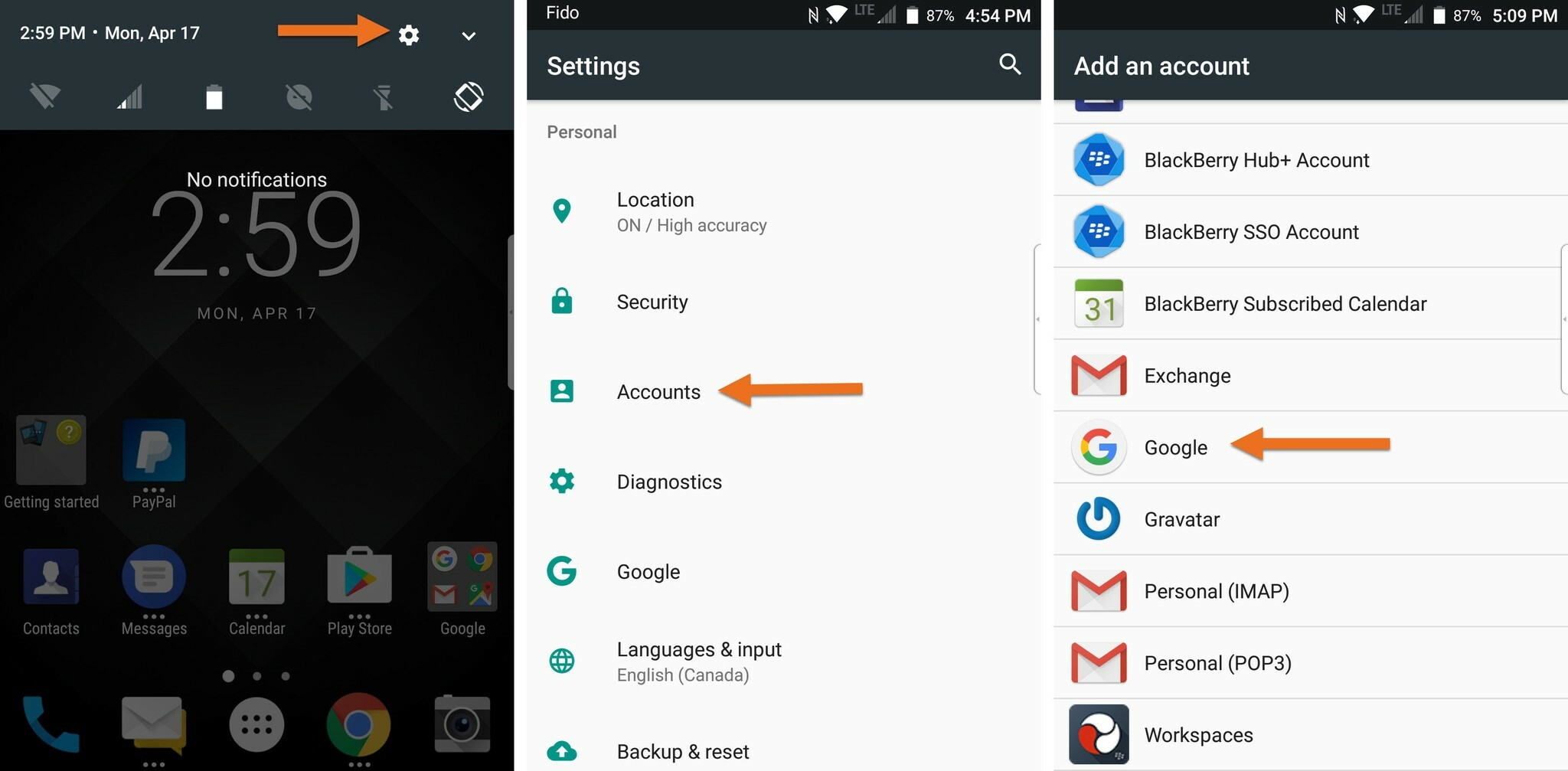 Adding a Google account to the BlackBerry KEYone