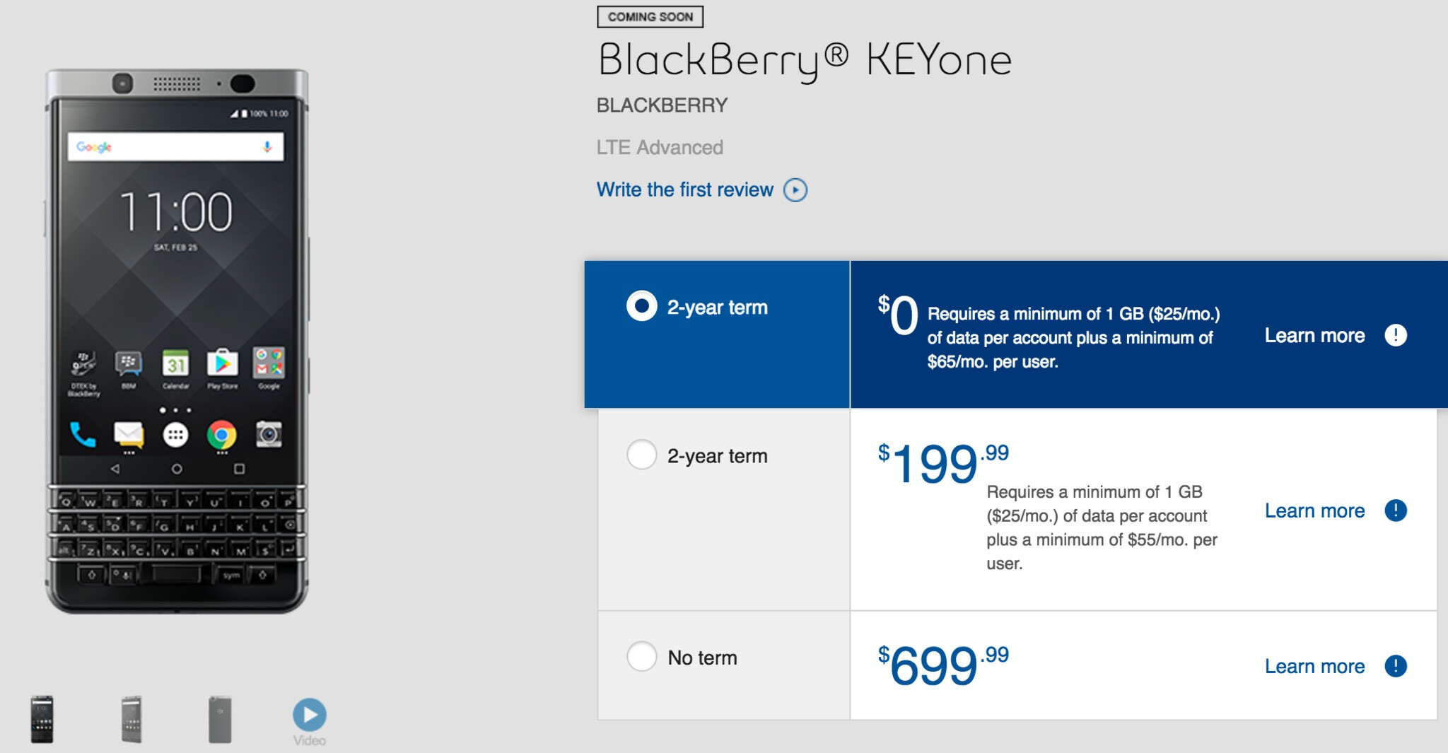 BlackBerry KEYone Coming Soon Pages Come to Canada's Bell, Bell MTS and SaskTel