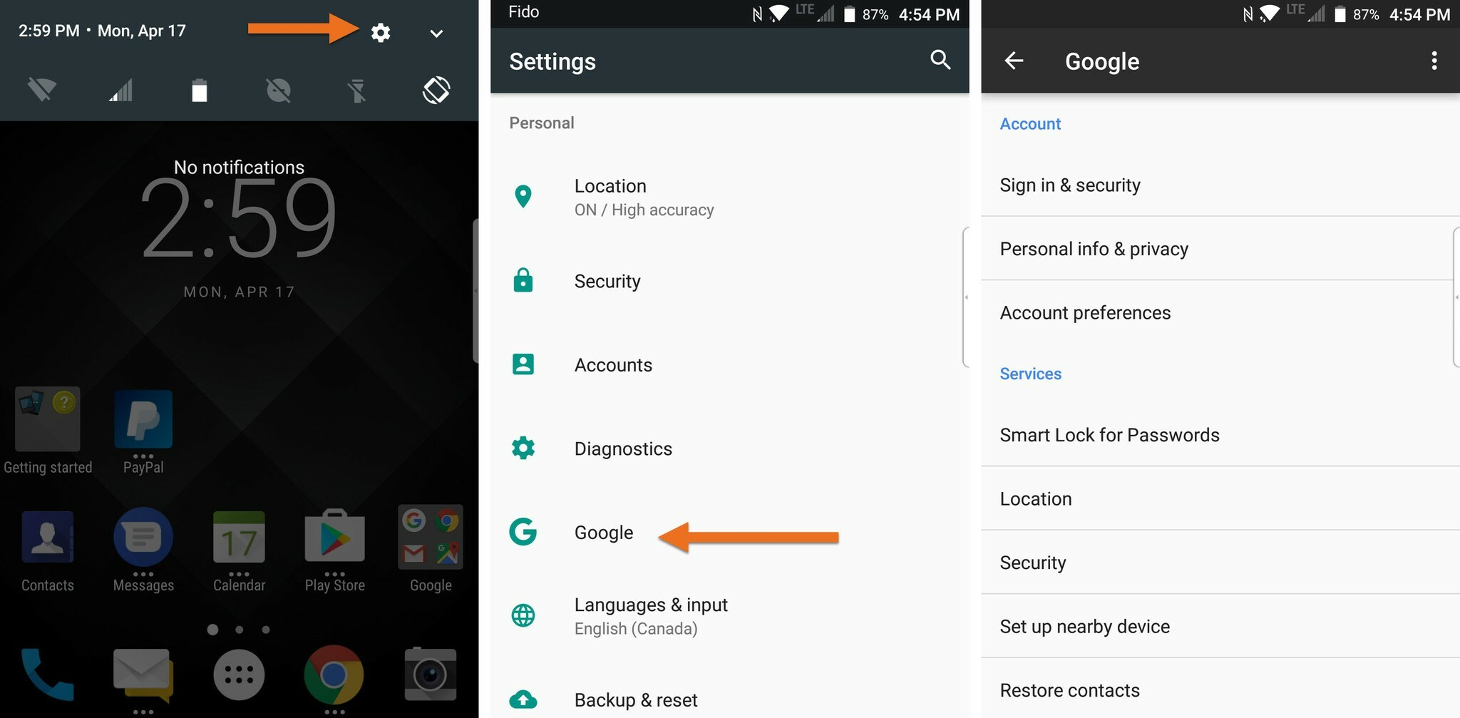Changing Google accounts on the BlackBerry KEYone