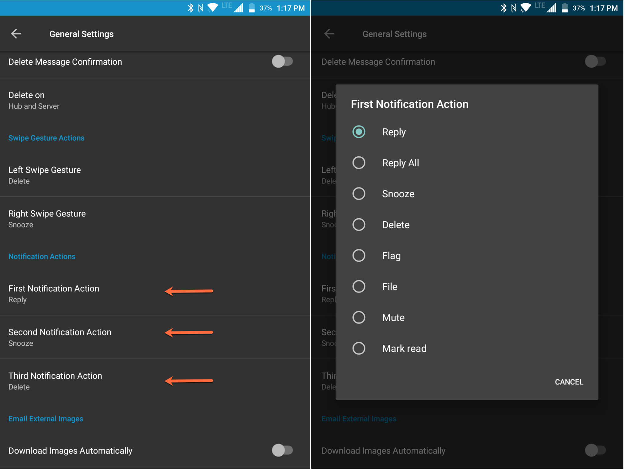 BlackBerry Hub email notification actions