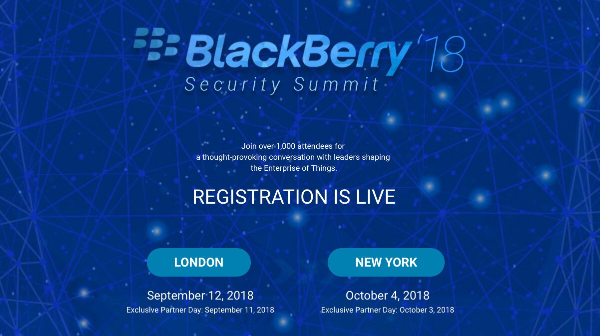 Reminder: Register for BlackBerry's 2018 Security Summits in London and NYC!
