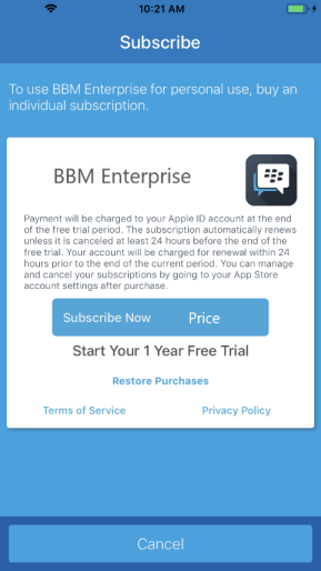 How to subscribe to BBM Enterprise on iOS | CrackBerry com
