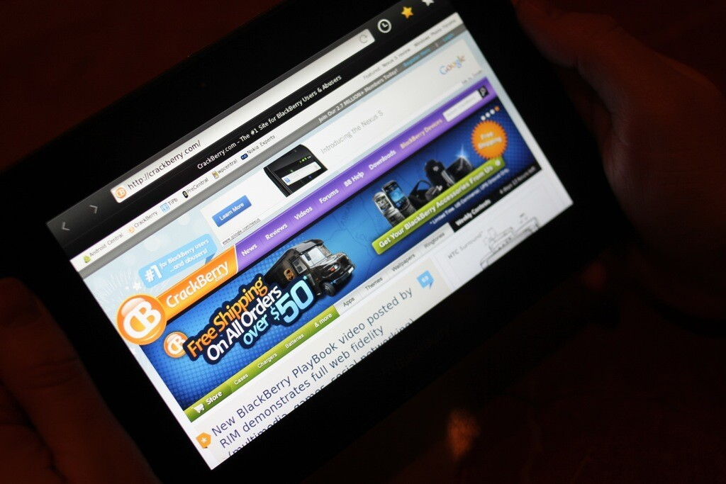 The BlackBerry PlayBook browser renders web pages quickly and accurately