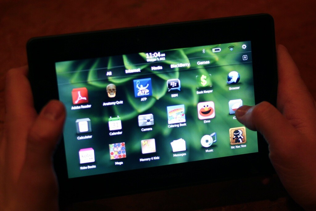 BlackBerry PlayBook applications are sorted by sensible categories