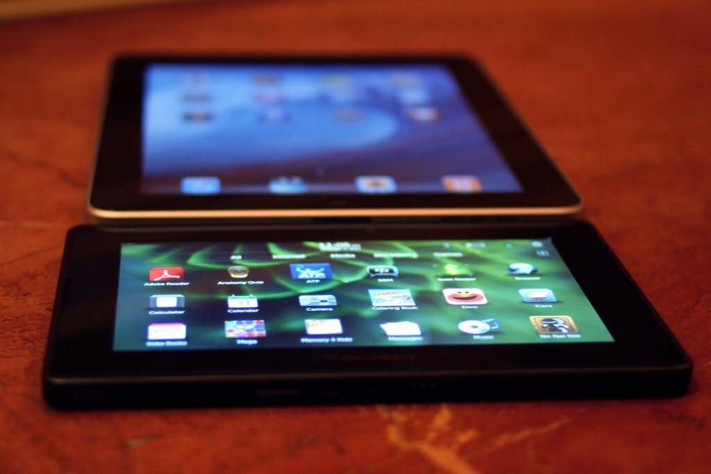 The BlackBerry PlayBook is of comparable thickness to the iPad