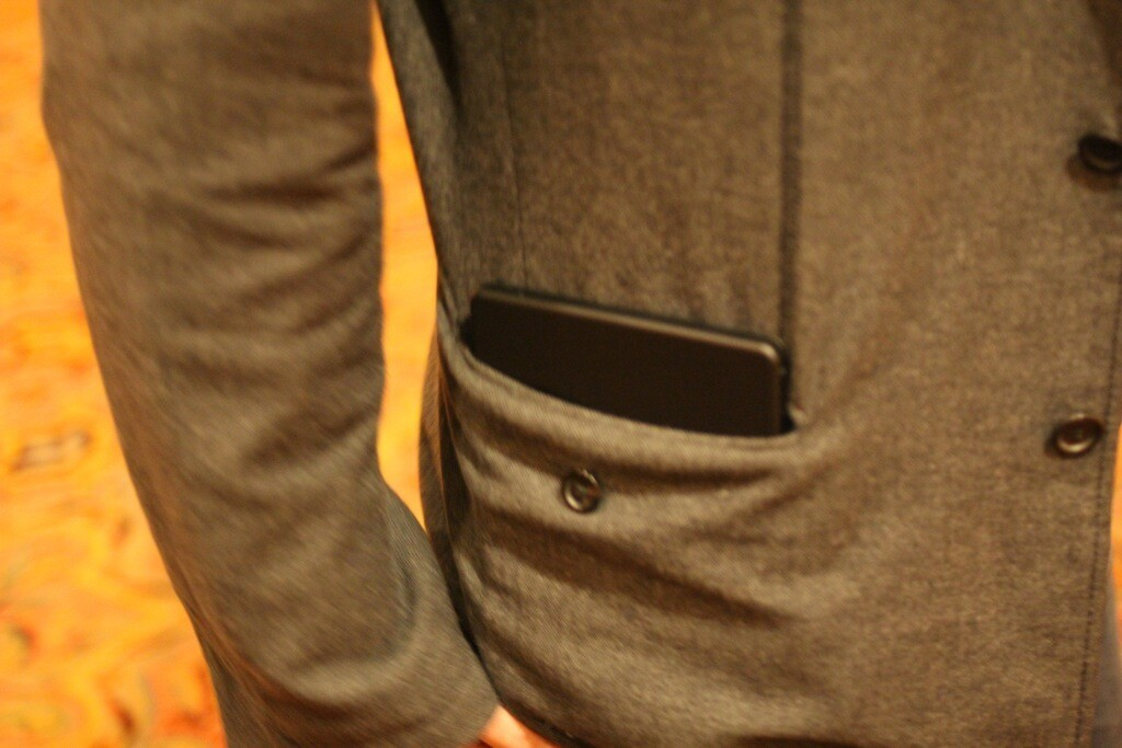 The BlackBerry PlayBook fits easily in a regular coat pocket