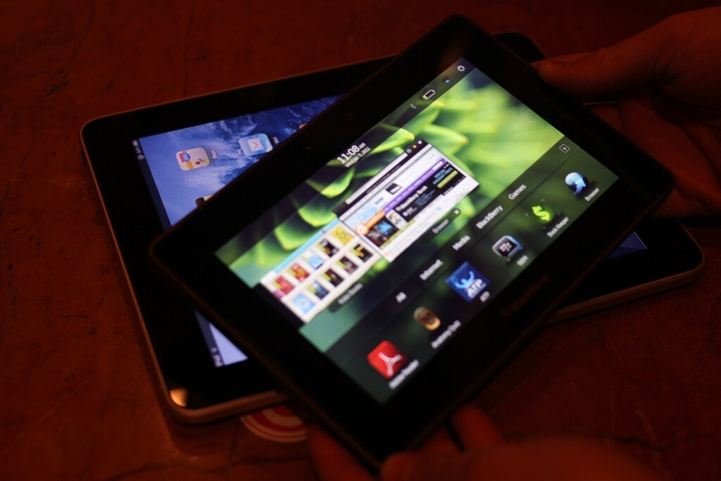 The BlackBerry PlayBook is much easier to hold onto for long periods than the iPad