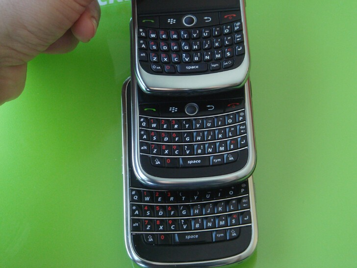 T to B: Curve 8900, 9630, Bold. RIM has nailed it with the 9630's keyboard. My new favorite.