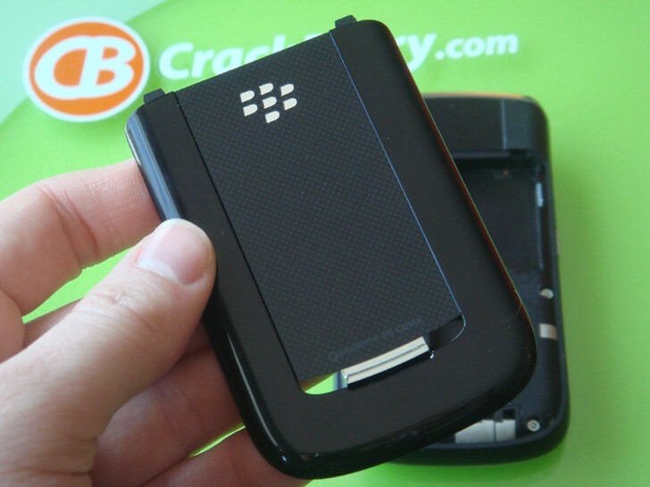 The BlackBerry 9630's battery door. The dotted pattern on the skinny part looks nice.