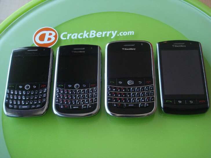 L to R: BlackBerry Curve 8900, BlackBerry 9630, BlackBerry Bold, BlackBerry Storm.