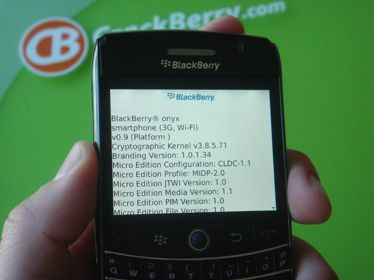 BlackBerry onyx - Not labeled, but appears to be running a version OS 5.0 (5.1??)
