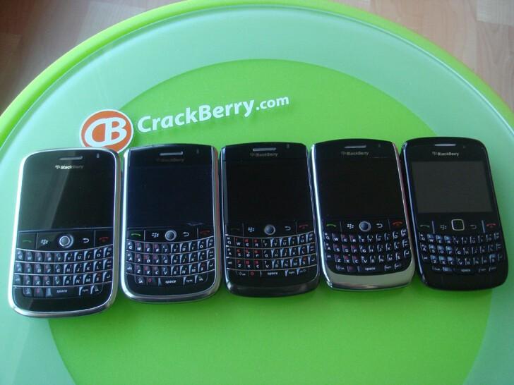 L to R: BlackBerry Bold, Tour 9630, Onyx, Curve 8900, Curve 8520