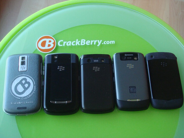 From Behind, L to R: BlackBerry Bold, Tour 9630, Onyx, Curve 8900, Curve 8520