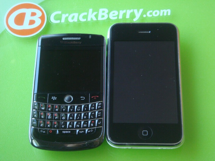 Just for fun: BlackBerry Onyx and Apple's iPhone 3G side by side