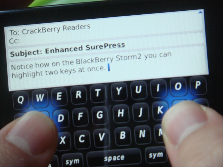 Enhanced SurePress typing on the BlackBerry Storm - note two highlighted letters.
