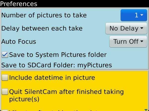 SilentCam Menu 1