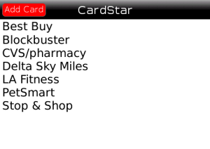 CardStar Home Screen
