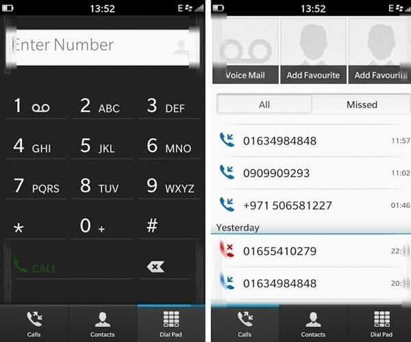 BlackBerry 10 phone app