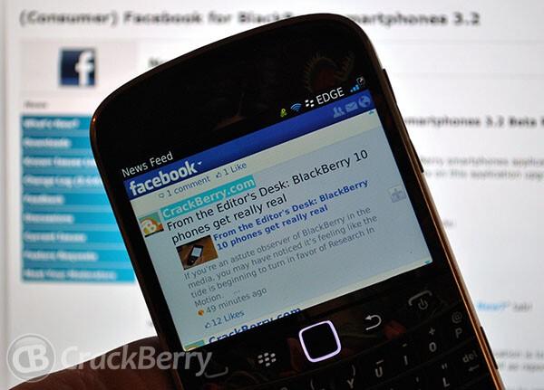 Facebook for BlackBerry smartphones version 3 2 0 9 now