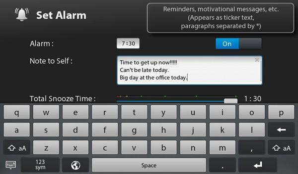 Get Set - Get Up Alarm settings