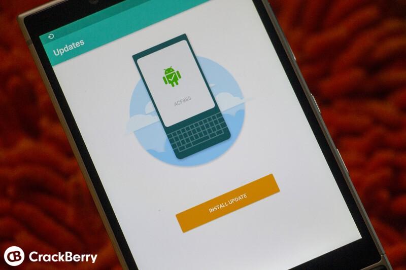BlackBerry KEY2 showing software update screen