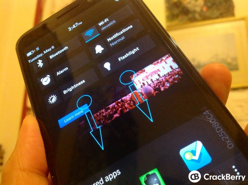 Access the Quick Settings menu from anywhere in BlackBerry OS 10.3