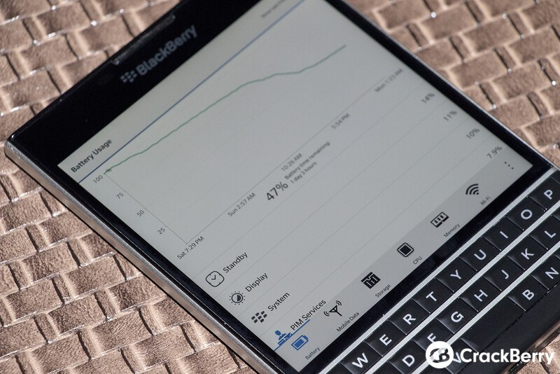 BlackBerry Passport battery stats