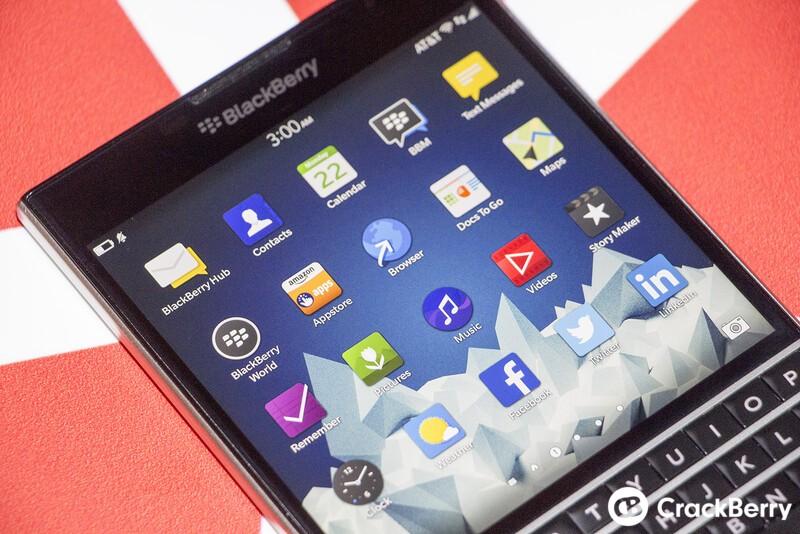 BlackBerry Passport screen